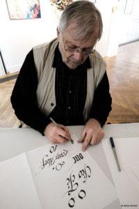 Démonstration de calligraphie par Jean-Jacques GRAND